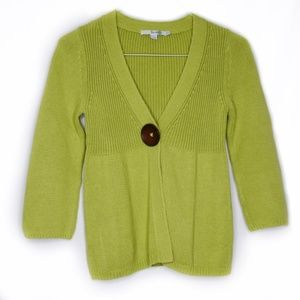 Boden Neon Green Knitted Ribbed Cardigan 4